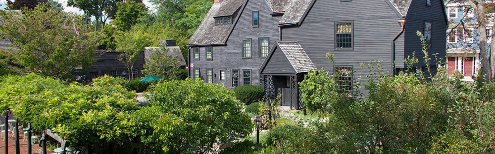 View of the House of Seven Gables from the Garden on a sunny day.