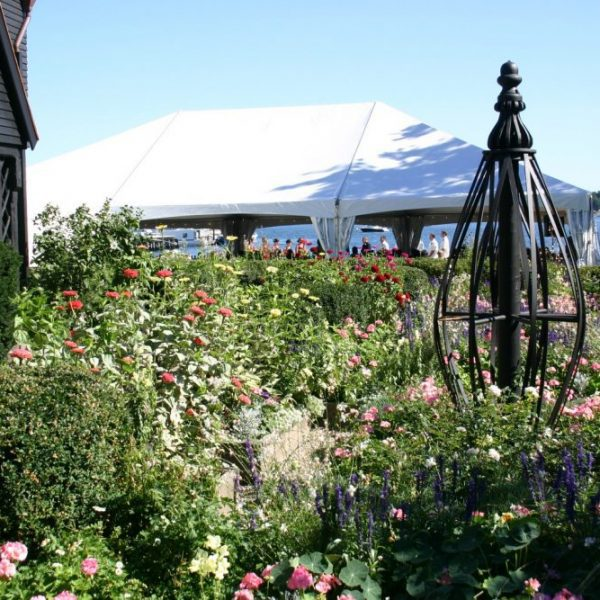 Seaside Garden view with event tent set up in background.