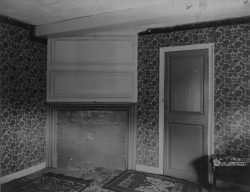 Late nineteenth-century photograph by Frank Cousins of the parlor chamber in the Nathaniel Hawthorne Birthplace