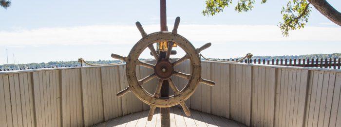 Ship wheel in Kids Cove at The Gables