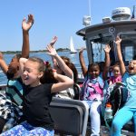 Caribbean Connections students enjoying the boat ride to Bakers Island with Essex Heritage