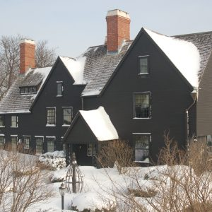 The House of the Seven Gables covered in snow in the winter