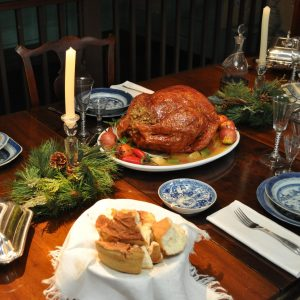 The dining room table in the gables is set for the holidays