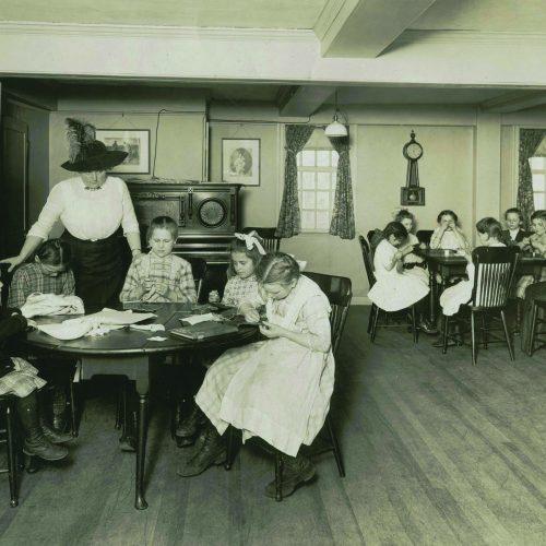 Caroline Emmerton teaching a settlement class in the Hooper-Hathaway House