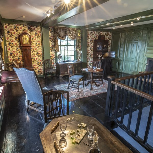 Interior photograph of the parlor in The House of the Seven Gables