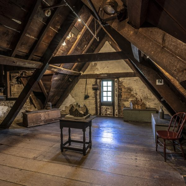 Interior photograph of the Attic at The House of the Seven Gables