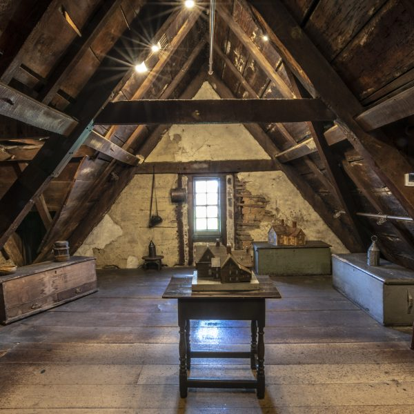 Interior photograph of the Attic in the House of the Seven Gables