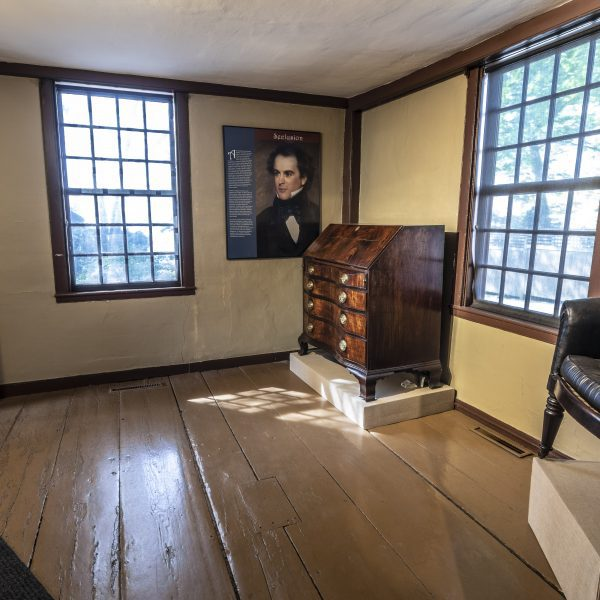 Interior of the Nathaniel Hawthorne Birthplace at The House of the Seven Gables museum campus