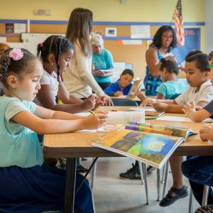 Children in a classroom during the Caribbean Connections summer enrichment program