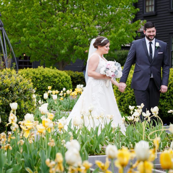 A couple in the gardens at The House of the Seven Gables