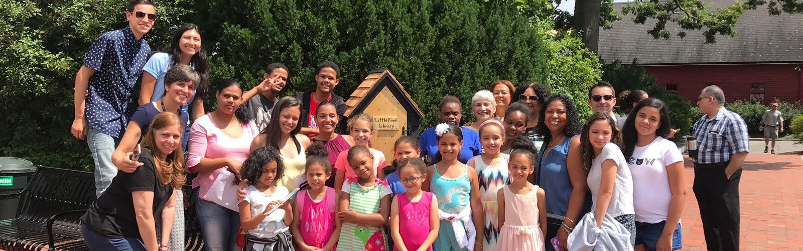 2018 Caribbean Connections students and the new Little Free Library at The House of the Seven Gables