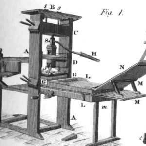 Images of a historic printing press