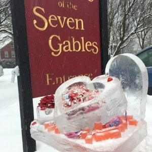Ice Sculpture outside of The House of the Seven Gables