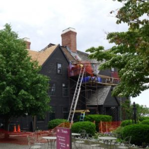 Roof work at The House of the Seven Gables