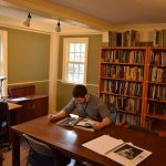 William Demick hard at work in The Gables Research Library