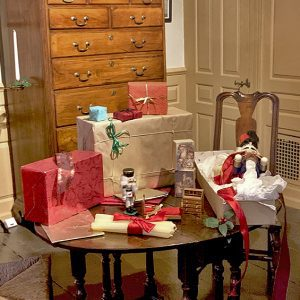 Presents on a table in the Great Chamber at The House of the Seven Gables