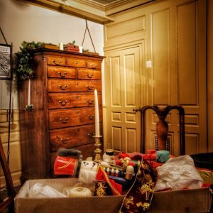Great Chamber of The House of the Seven Gables decorated for Christmas tours