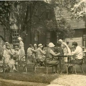 Black and white photograph of outdoor seating