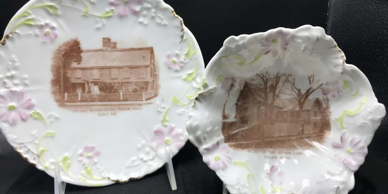 two white porcelain plates with crimped edges, painted with lavender flowers and brown images of two houses