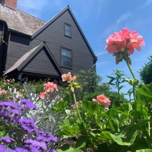 photograph of flowers and The House of the Seven Gables