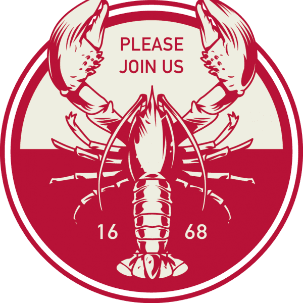 Logo for fundraiser with illustrated lobster and text please join us.
