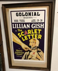 Picture of a movie poster for the Scarlet Letter on sale at Pickering Wharf Antiques