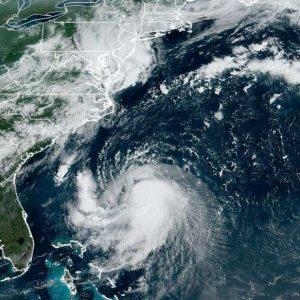 satellite image of a hurricane over the atlantic ocean
